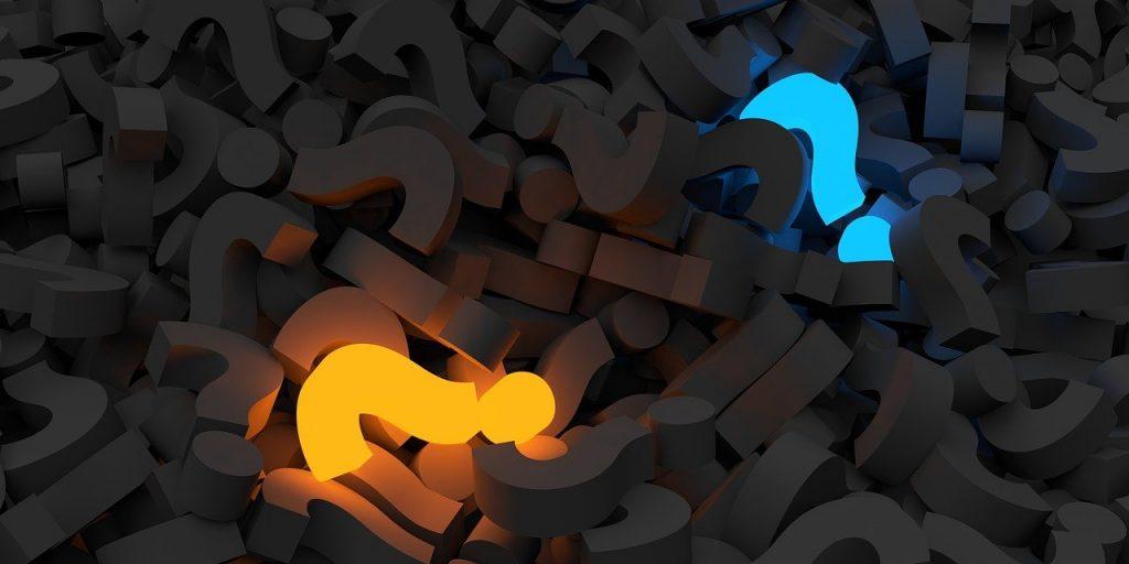 question mark, pile, questions